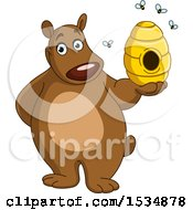 Cartoon Happy Bear Holding A Honey Bee Hive