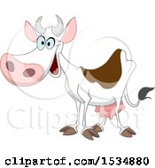 Clipart Of A Cartoon Happy Dairy Cow Royalty Free Vector Illustration