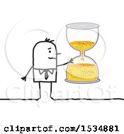 Clipart Of A Stick Business Man Holding An Hourglass Royalty Free Vector Illustration