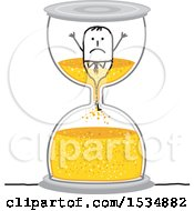 Clipart Of A Stick Business Man Being Sucked Into An Hourglass Royalty Free Vector Illustration