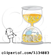 Clipart Of A Stick Man Looking At A Polluted Hourglass Royalty Free Vector Illustration