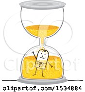 Clipart Of A Stick Business Man Drowning In An Hourglass Royalty Free Vector Illustration