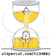 Clipart Of A Stick Baby And A Senior Man In An Hourglass Royalty Free Vector Illustration