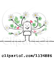 Clipart Of A Stick Man With Spring Branch Arms Royalty Free Vector Illustration