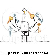 Poster, Art Print Of Stick Business Man Trying To Find The Correct Key For A Padlock