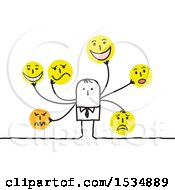 Clipart Of A Stick Business Man With Many Smiley Faces Royalty Free Vector Illustration
