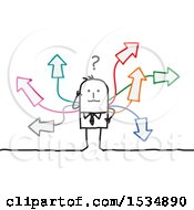 Clipart Of A Confused Stick Business Man With Arrows Going In Different Directions Royalty Free Vector Illustration