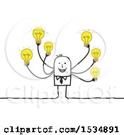 Clipart Of A Creative Stick Business Man With Many Ideas Royalty Free Vector Illustration