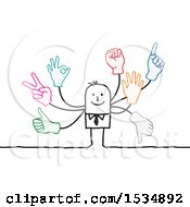 Poster, Art Print Of Stick Business Man With Many Hand Gestures
