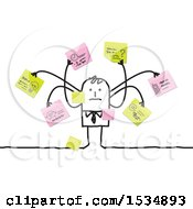 Clipart Of A Stick Business Man With Many Memos Royalty Free Vector Illustration
