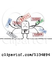 Clipart Of A Stick Business Man Overwhelmed With Taxes Royalty Free Vector Illustration