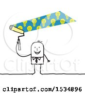 Poster, Art Print Of Stick Business Man Painting Idea Light Bulbs Above His Head