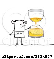 Clipart Of A Stick Woman Holding An Hourglass Royalty Free Vector Illustration by NL shop