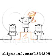 Poster, Art Print Of Stick Woman Holding A Trophy On A First Place Podium