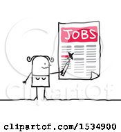 Clipart Of A Stick Woman Job Hunting Royalty Free Vector Illustration