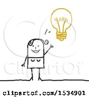Clipart Of A Stick Woman With An Idea Light Bulb Royalty Free Vector Illustration