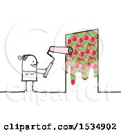 Clipart Of A Stick Woman Painting Cherries On A Door Royalty Free Vector Illustration