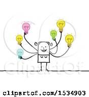 Poster, Art Print Of Creative Stick Woman With Many Ideas