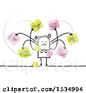 Clipart Of A Stick Woman With Many Memos And Reminders Royalty Free Vector Illustration