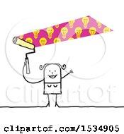 Poster, Art Print Of Stick Woman Painting Idea Light Bulbs Over Her Head