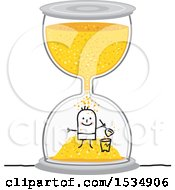 Clipart Of A Stick Boy Playing In An Hourglass Royalty Free Vector Illustration