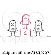 Clipart Of A Winner Stick Business Woman And Male Competitors On A Podium Royalty Free Vector Illustration