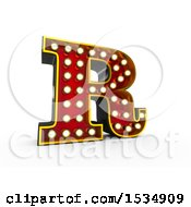 3d Illuminated Theater Styled Vintage Letter R On A White Background
