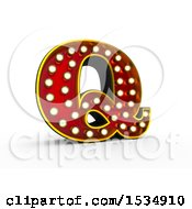 3d Illuminated Theater Styled Vintage Letter Q On A White Background