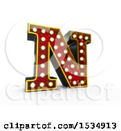 3d Illuminated Theater Styled Vintage Letter N On A White Background