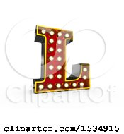 Clipart Of A 3d Illuminated Theater Styled Vintage Letter L On A White Background Royalty Free Illustration
