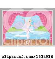Clipart Of A Ballerina Dancing On Stage Royalty Free Vector Illustration
