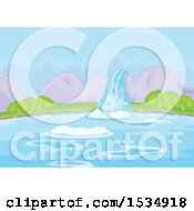 Clipart Of A Landscape Background Of A Waterfall And Lake Royalty Free Vector Illustration