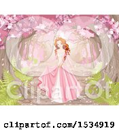 Clipart Of A Beautiful Spring Time Princess Under Blossoming Trees In The Woods Royalty Free Vector Illustration