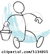 Poster, Art Print Of Stickler Man Walking With A Bucket Over A Blue Accent