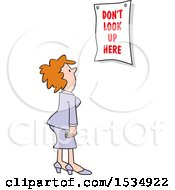 Clipart Of A White Business Woman Looking At A Dont Look Up Here Sign Royalty Free Vector Illustration