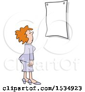 Business Woman Looking At A Blank Sign