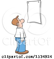 Clipart Of A Man Looking At A Blank Sign Royalty Free Vector Illustration
