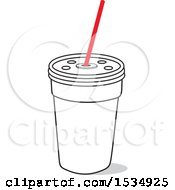 Clipart Of A Fast Food Fountain Soda Cup Royalty Free Vector Illustration
