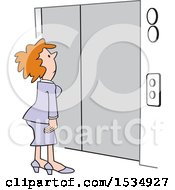 Clipart Of A White Business Woman Waiting For An Elevator Royalty Free Vector Illustration