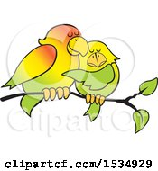 Clipart Of A Pair Of Love Birds Cuddling On A Branch Royalty Free Vector Illustration