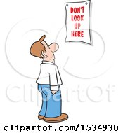 Clipart Of A Caucasian Business Man Looking At A Dont Look Up Here Sign Royalty Free Vector Illustration