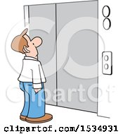 Clipart Of A Caucasian Business Man Waiting For An Elevator Royalty Free Vector Illustration