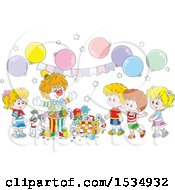 Clipart Of A Clown Entertaining Kids At A Birthday Party Royalty Free Vector Illustration