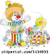 Clipart Of A Party Clown With A Bag Of Tricks Royalty Free Vector Illustration by Alex Bannykh