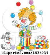 Clipart Of A Dog Watching A Party Clown Juggle Royalty Free Vector Illustration
