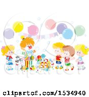 Clipart Of A Party Clown Entertaining Children At A Party Royalty Free Vector Illustration