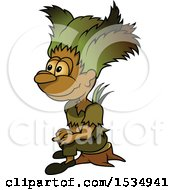 Clipart Of A Forest Sprite Royalty Free Vector Illustration