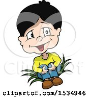 Clipart Of A Boy Sitting On Leaves Royalty Free Vector Illustration