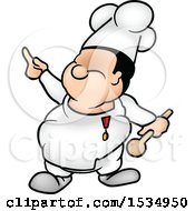 Cartoon Male Chef Holding Up A Finger