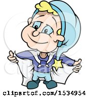 Clipart Of A Dwarf Wearing A Cape Royalty Free Vector Illustration